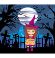 girl in witch costume holding pumpkin with candy vector image vector image