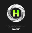 green letter h logo symbol in the silver circle vector image