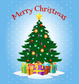 greeting card with cartoon christmas tree vector image vector image