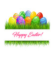 happy easter eggs in grass blades vector image