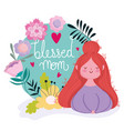 happy mothers day woman flowers lettering floral vector image
