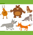 happy wild animal characters set vector image