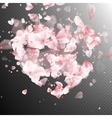 Heart with falling flower petals blossom EPS 10 vector image vector image