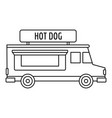 hot dog truck icon outline style vector image