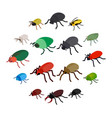 insect bug icons set isometric 3d style vector image