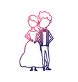 line happy couple together and romantic vector image vector image