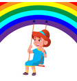 little child girl swinging on a swing from the vector image
