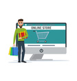 Man shopping online Business cartoon concept vector image vector image