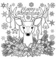 merry christmas deer outline composition vector image vector image