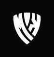 mk logo monogram with shield elements shape vector image vector image
