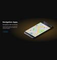 modern black smart phone lies on a smooth dark vector image vector image