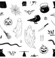 monochrome hand drawn halloween elements seamless vector image vector image