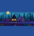 night landscape with wooden timber frame house vector image
