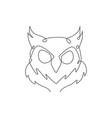 one single line drawing elegant owl bird head vector image