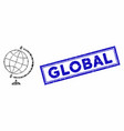 rectangle collage global with grunge global seal vector image vector image