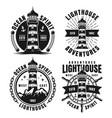 set four nautical monochrome emblems or badges vector image vector image