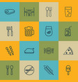 set of 16 food icons includes eating house lolly vector image