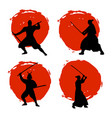 set of samurai warriors silhouette on red moon vector image