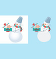 set of snowmen snowman wearing a striped scarf vector image