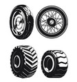 silhouette motorcycle wheels car tires vector image