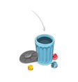 throwing crumpled paper into dustbin vector image vector image