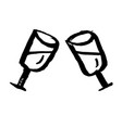 vine glasses grunge icon vector image