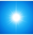 White glowing light burst sun on blue sky vector image vector image