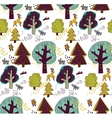 Winter forest and animal seamless pattern vector image vector image