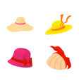 woman hat icon set cartoon style vector image