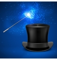 Magic wand and vintage top hat vector image
