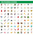 100 russia icons set cartoon style vector image vector image