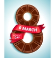 8 march womens day greeting card with chocolate vector image vector image