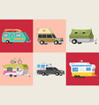 a set trailers or family rv camping caravan vector image