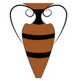 brown and black vintage style vase on white vector image