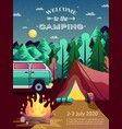 camping hiking poster vector image vector image
