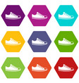 canvas sneaker icon set color hexahedron vector image vector image