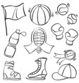 doodle of object sport equipment vector image vector image