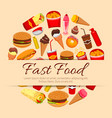 fast food snacks and desserts poster vector image vector image