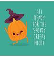 funny pumpkins wish you a happy halloween vector image vector image