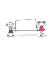 funny stickman boy and girl holding banner vector image vector image