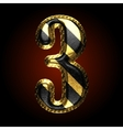 golden and black letter 3 vector image vector image
