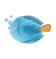 hand drawing blue fish life exotic bubbles vector image