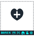 health hearth cross icon flat vector image vector image