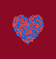 heart of red and blue circles vector image vector image