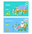 invest in startup people launching rocket web vector image vector image