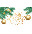 merry christmas greeting card golden vector image