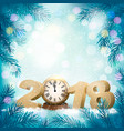 new year background with a 2018 and clock vector image
