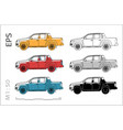 pickup cuv car icons set for architectural vector image