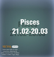 Pisces zodiac sign icon On the blue-green abstract vector image vector image