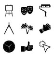 portray icons set simple style vector image